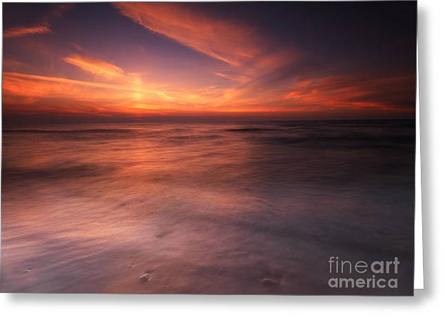 Beach Scenery Greeting Cards - Colorful sunset over water of lake Huron Greeting Card by Oleksiy Maksymenko