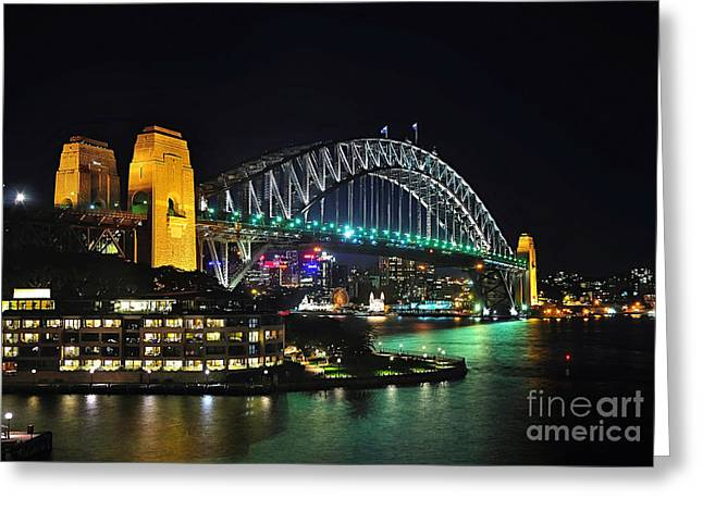 Colorful Sydney Harbour Bridge By Night 3 Greeting Card by Kaye Menner