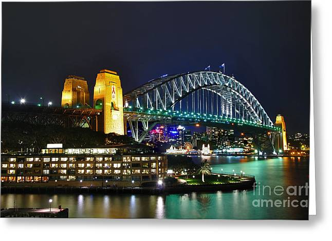 Luna Greeting Cards - Colorful Sydney Harbour Bridge by Night Greeting Card by Kaye Menner