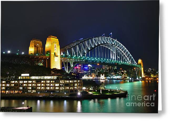 Colorful Sydney Harbour Bridge By Night Greeting Card by Kaye Menner