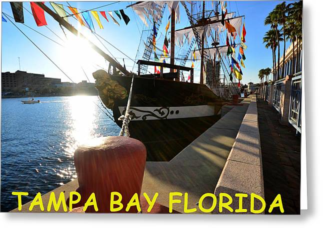 Pirate Ship Greeting Cards - Colorful Tampa Bay Florida Greeting Card by David Lee Thompson