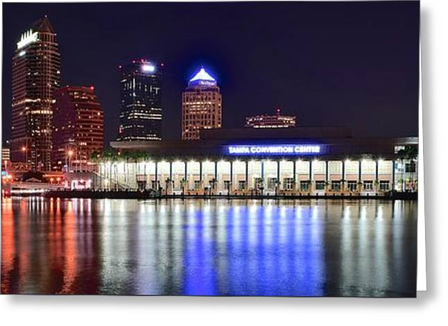 Buccaneer Greeting Cards - Colorful Tampa Bay Nightlife Greeting Card by Frozen in Time Fine Art Photography