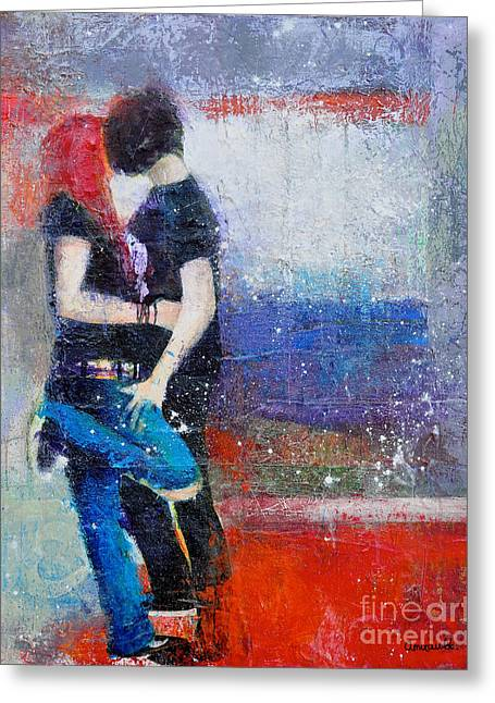 First Love Greeting Cards - Colorful Teen Together For Ever  Greeting Card by Johane Amirault