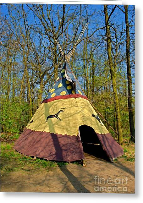Tipis Greeting Cards - Colorful teepee Greeting Card by Martin Capek