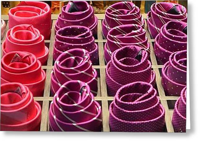 Cloth Greeting Cards - Colorful Ties Greeting Card by Dany  Lison