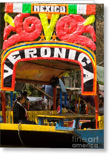 Geobob Greeting Cards - Colorful tour boats in Xochimilco Mexico City Greeting Card by Robert Ford