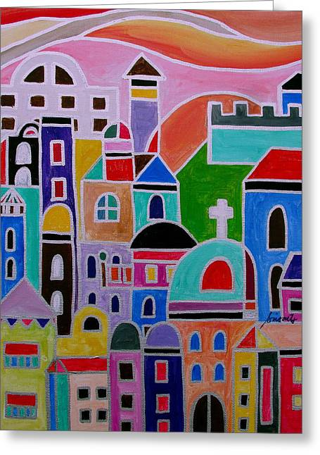 Carter House Paintings Greeting Cards - Colorful Town Of Guanajuato Mexico Greeting Card by Pristine Cartera Turkus