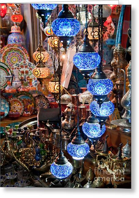 Authentic Colors Greeting Cards - Colorful Traditional Turkish Lights  Greeting Card by Leyla Ismet