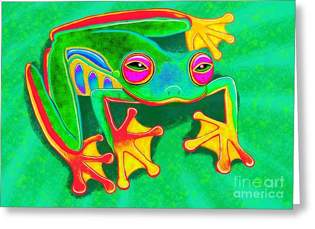 Amphibians Digital Art Greeting Cards - Colorful Tree Frog Greeting Card by Nick Gustafson
