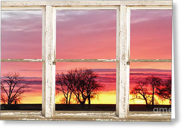 Room With A View Greeting Cards - Colorful Tree Lined Horizon White Barn Picture Window Frame  Greeting Card by James BO  Insogna