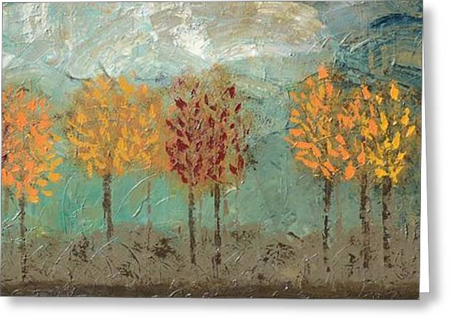 Prussian Blue Greeting Cards - Colorful Trees Greeting Card by Linda Bailey