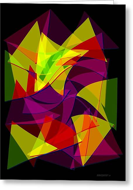 Transparency Geometric Greeting Cards - Colorful Triangles Geometric Art Designs Greeting Card by Mario  Perez