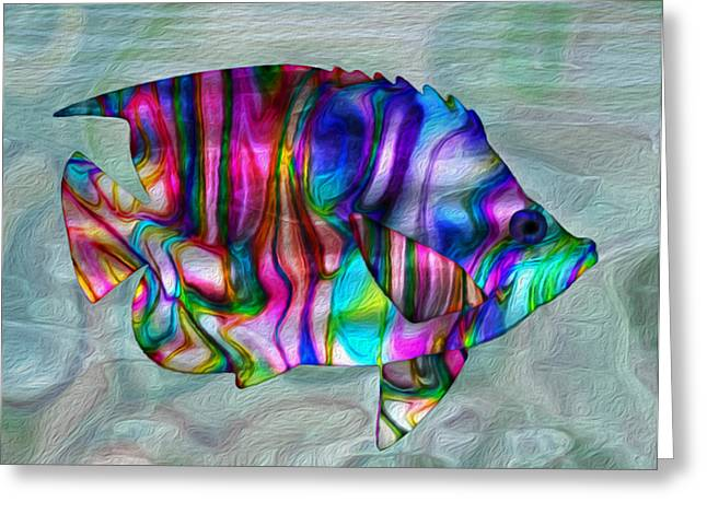 Sea Life Digital Art Greeting Cards - Colorful Tropical Fish Greeting Card by Jack Zulli