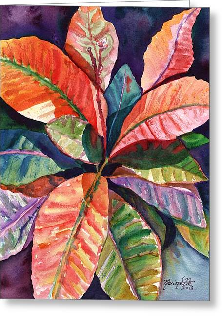 Tropical Plants Greeting Cards - Colorful Tropical Leaves 1 Greeting Card by Marionette Taboniar