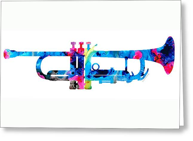 Marching Band Mixed Media Greeting Cards - Colorful Trumpet 2 Art By Sharon Cummings Greeting Card by Sharon Cummings