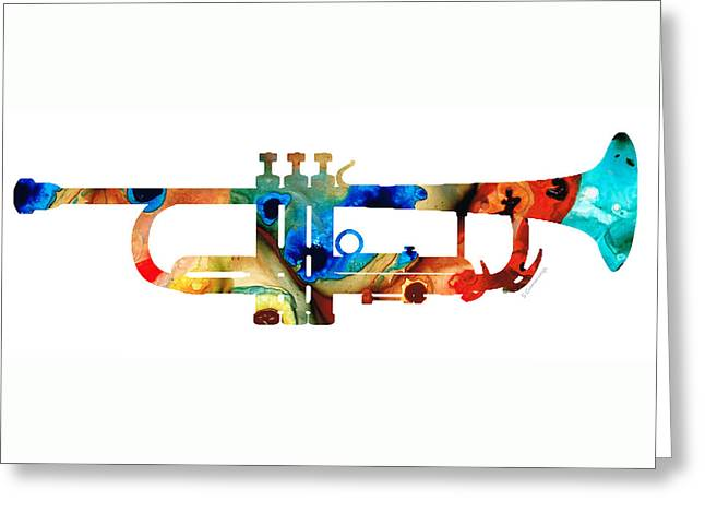 Colorful Trumpet Art By Sharon Cummings Greeting Card by Sharon Cummings