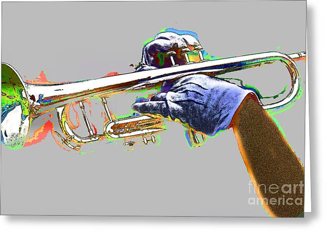 Marching Band Greeting Cards - Colorful Trumpet Greeting Card by Tom Gari Gallery-Three-Photography