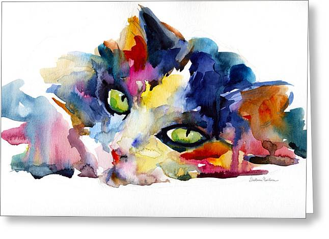 Vibrant Greeting Cards - Colorful Tubby cat painting Greeting Card by Svetlana Novikova