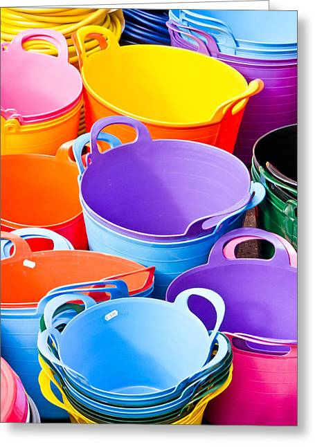 Diverse Photographs Greeting Cards - Colorful tubs Greeting Card by Tom Gowanlock