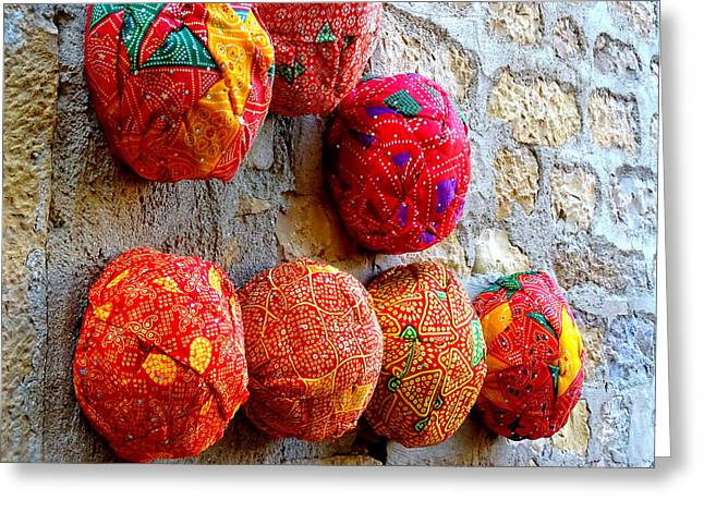 Occasion Greeting Cards - Colorful Turbans For Sale Rajasthan India Greeting Card by Sue Jacobi