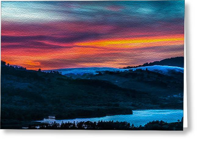 Mike Lee Greeting Cards - Colorful Twilight Panorama Greeting Card by Mike Lee