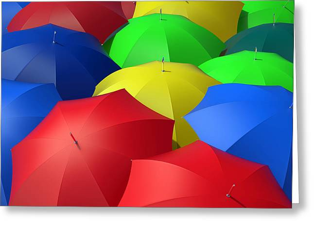 Multiple Identities Greeting Cards - Colorful Umbrellas Greeting Card by Bruno Haver