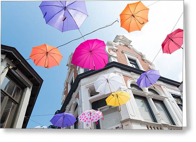 Outdoor Theater Greeting Cards - Colorful Umbrellas Greeting Card by Hans Engbers