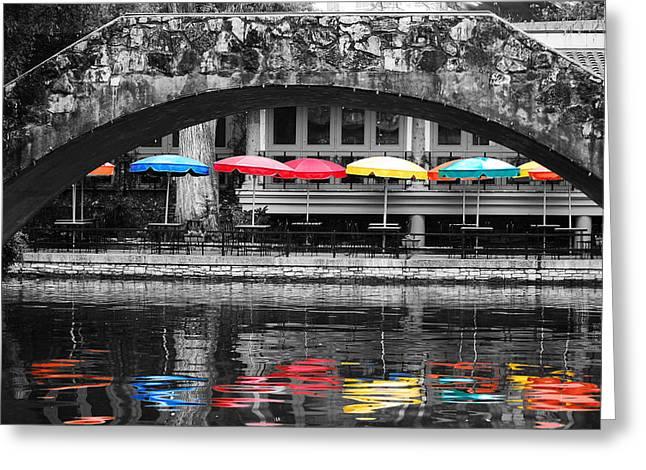 Color Splash Greeting Cards - Colorful Umbrellas Reflected in Riverwalk Under Foot Bridge San Antonio Texas Color Splash Digital Greeting Card by Shawn O