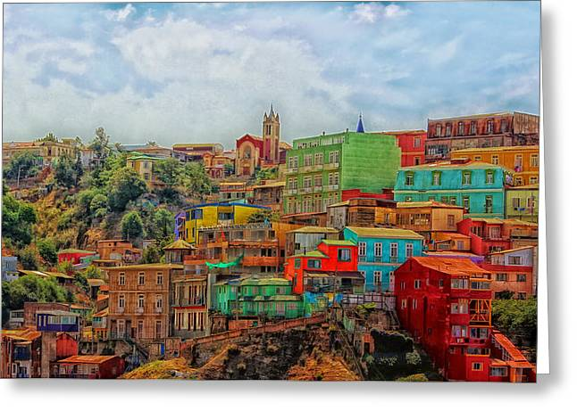 Colorful Valparaiso  Greeting Card by Mountain Dreams