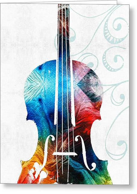 Recently Sold -  - Printed Greeting Cards - Colorful Violin Art by Sharon Cummings Greeting Card by Sharon Cummings
