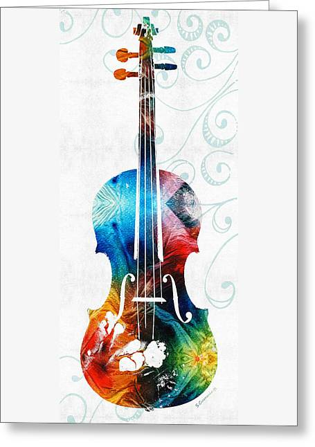 Colorful Violin Art By Sharon Cummings Greeting Card by Sharon Cummings
