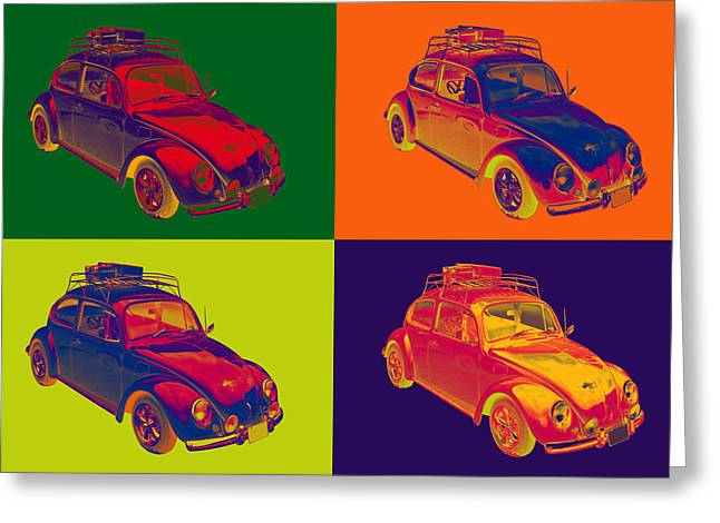 Punch Digital Art Greeting Cards - Colorful Volkswagen beetle Punch Buggy Modern Pop Art Greeting Card by Keith Webber Jr