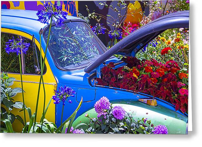 Headlight Greeting Cards - Colorful VW Bug Greeting Card by Garry Gay