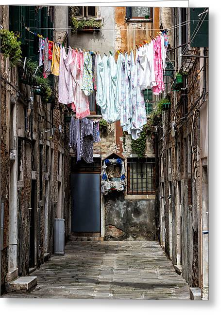 White Cloth Greeting Cards - Colorful Washings in Venice Greeting Card by Francesco Rizzato