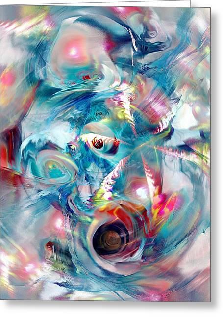 Calm Waters Mixed Media Greeting Cards - Colorful Water Greeting Card by Anastasiya Malakhova