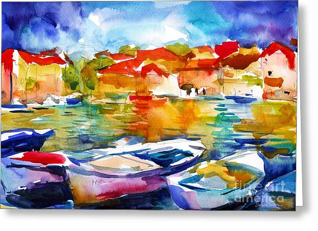 European City Greeting Cards - Colorful watercolor boats european water scape Greeting Card by Svetlana Novikova