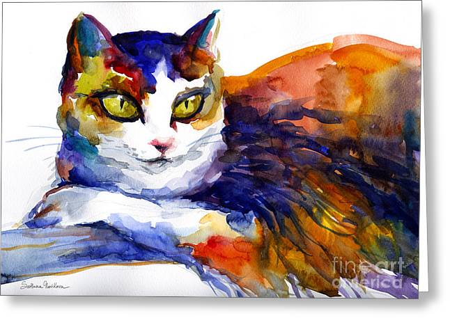 Cute Cat Greeting Cards - Colorful Watercolor Cat On A Tree Painting Greeting Card by Svetlana Novikova