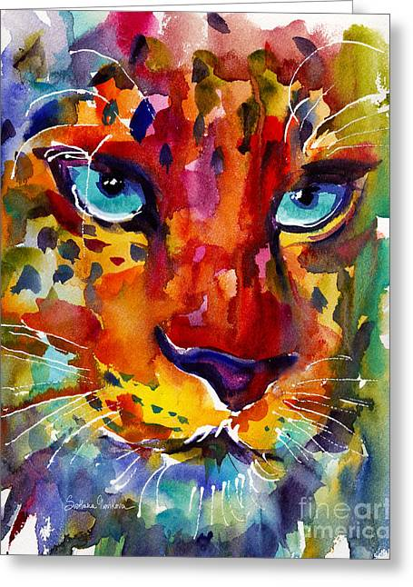 Wildlife Art Posters Greeting Cards - Colorful Watercolor leopard painting Greeting Card by Svetlana Novikova
