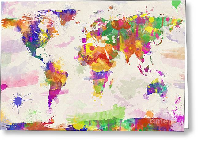 Famouse Greeting Cards - Colorful Watercolor World Map Greeting Card by Zaira Dzhaubaeva