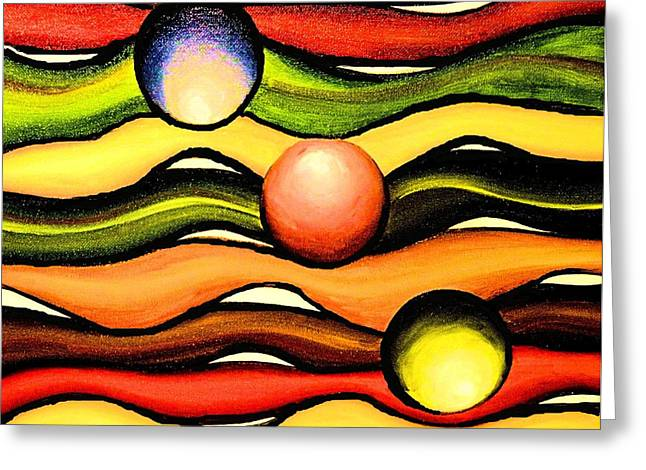 Curve Ball Paintings Greeting Cards - Colorful Wavy Lines Greeting Card by Victoria Rhodehouse