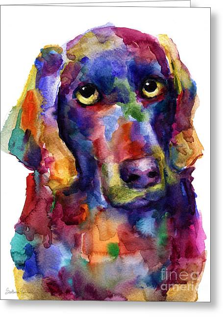 Whimsical Dog Art Greeting Cards - Colorful Weimaraner Dog art painted portrait painting Greeting Card by Svetlana Novikova