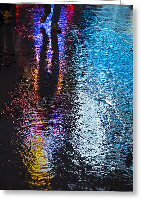 Sidewalk Greeting Cards - Colorful wet pavement Greeting Card by Garry Gay