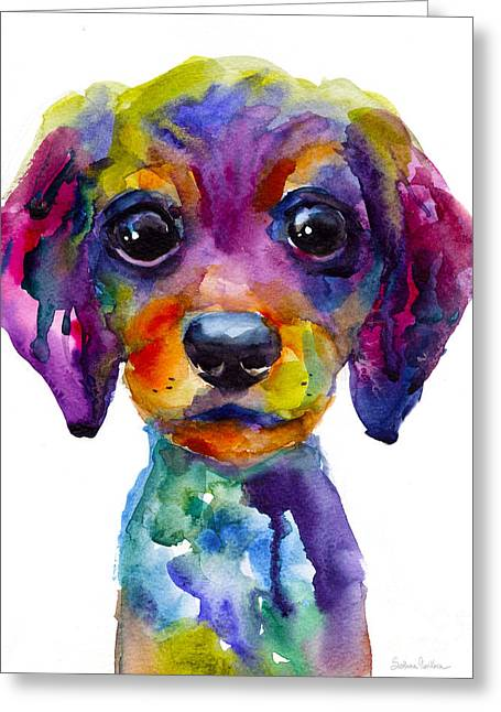 Impressionistic Dog Art Greeting Cards - Colorful whimsical Daschund Dog puppy art Greeting Card by Svetlana Novikova