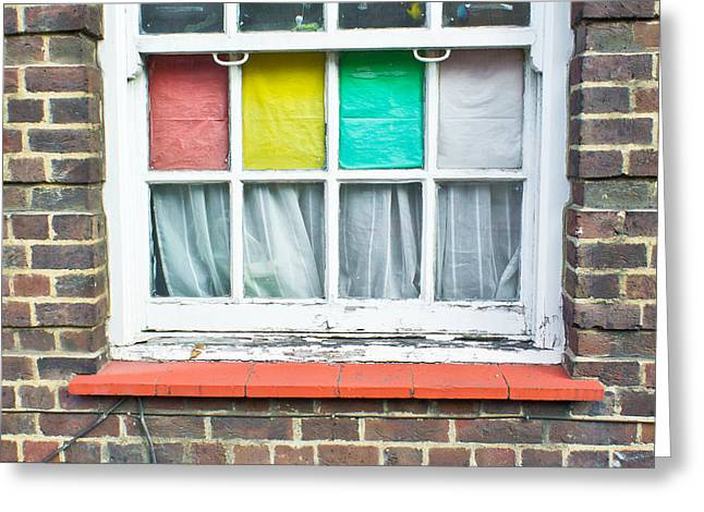 Lace Curtains Greeting Cards - Colorful window Greeting Card by Tom Gowanlock
