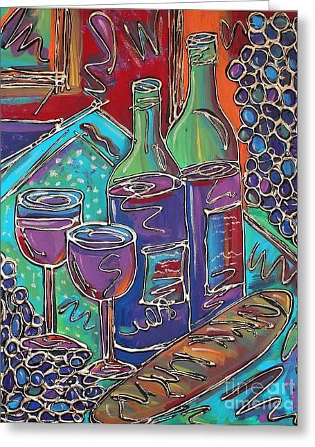 French Wine Bottles Mixed Media Greeting Cards - Colorful Wine Table Greeting Card by Cynthia Snyder
