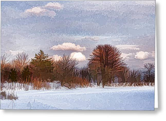 Sienna Greeting Cards - Colorful Winter Morning on the Lake Greeting Card by Georgia Mizuleva