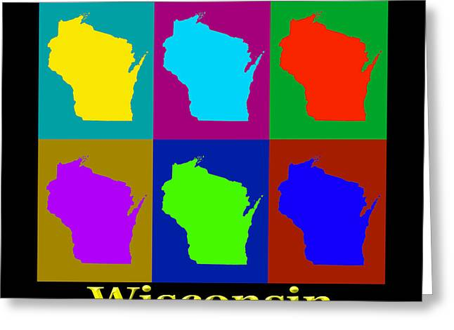 Wisconsin Art Greeting Cards - Colorful Wisconsin Pop Art Map Greeting Card by Keith Webber Jr