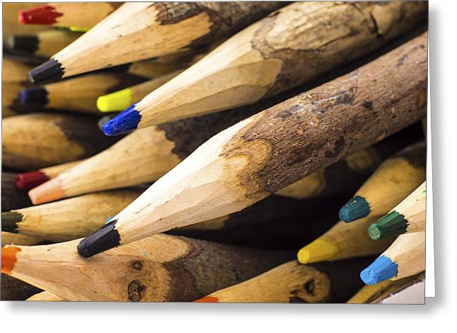 Pen Photographs Greeting Cards - Colorful Wooden Pencil Greeting Card by Aged Pixel