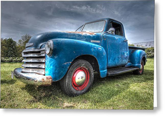 Old Pickup Greeting Cards - Colorful Workhorse - 1953 Chevy Truck Greeting Card by Gill Billington