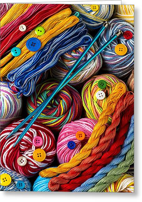 Knitting Greeting Cards - Colorful world of art and craft Greeting Card by Garry Gay